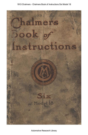 1913 Chalmers   Book of Instructions Six Model 18 (69pgs)