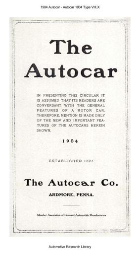 1904 Autocar   Type VIII,X (8pgs)