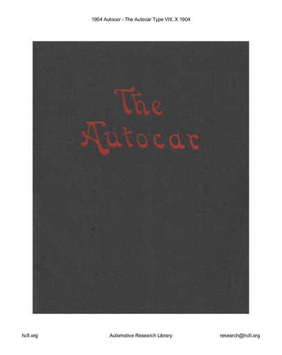 1904 Autocar   Type VIII, X (18pgs)