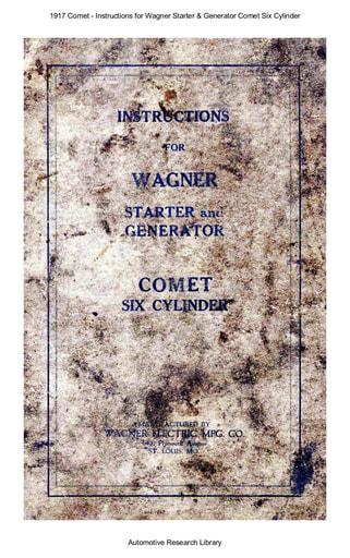 1917 Comet   Inst  for Wagner Starter & Gen  6Cyl (28pgs)