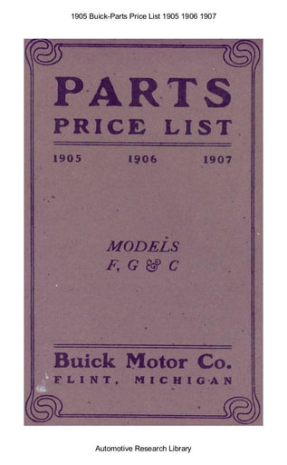 1905 Buick   Parts Price List 1905 1906 1907 (28pgs)