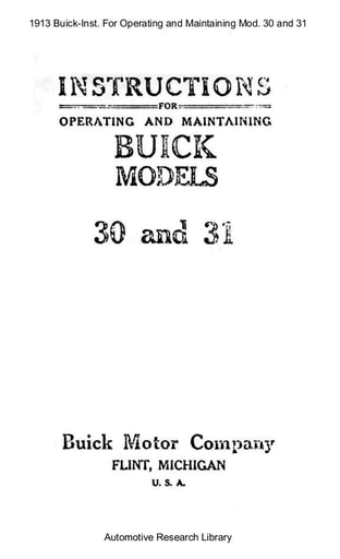 1913 Buick   Inst  For Operating Mod  30 and 31 (29pgs)