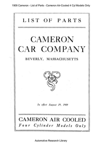 1909 Cameron   List of Parts Air Cooled 4 Cyl Models Only (15pgs)
