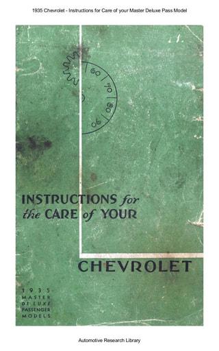 1935 Chevrolet   Inst  Master Deluxe Pass Model (31pgs)