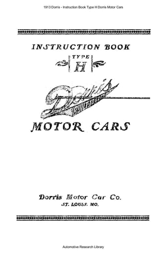 1913 Dorris   Instruction Book Type H (28pgs)