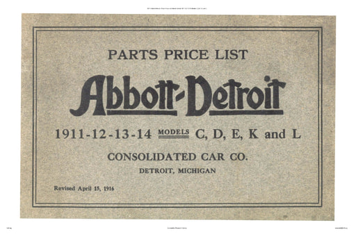 1911 Abbott Detroit   Parts Price List Mod  C,D,E, K, and L (84pgs)