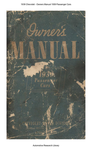1939 Chevrolet   Owners Manual Passenger Cars (61pgs)