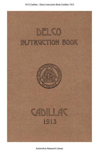 1913 Cadillac   Delco Instruction Book (38pgs)