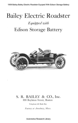 1909 Bailey   Electric Roadster Equiped With Edison Storage Battery (7pgs)