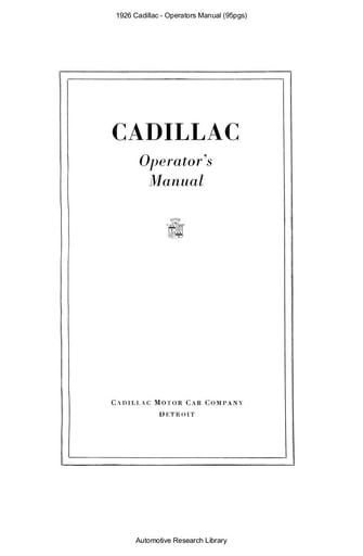 1926 Cadillac   Operators Manual (95pgs)