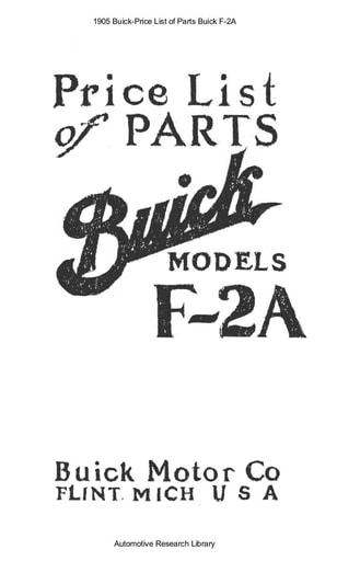 1905 Buick   Price List of Parts F 2A (105pgs)