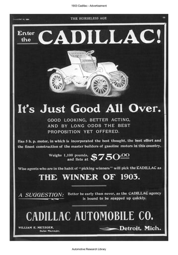 1903 Cadillac Advertisement (1pg)