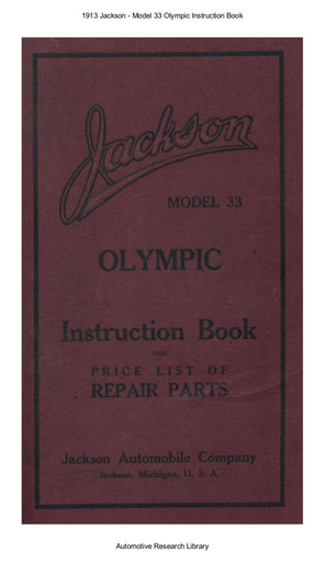 1913 Jackson   Model 33 Olympic Inst  Book (72pgs)