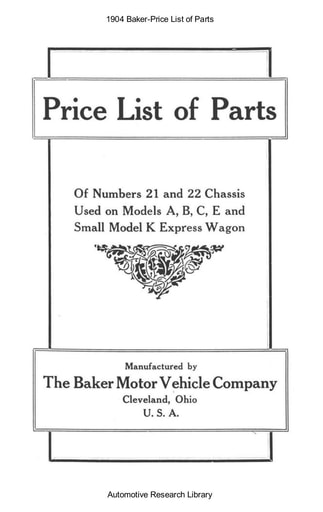 1904 Baker   Price List of Parts (21pgs)