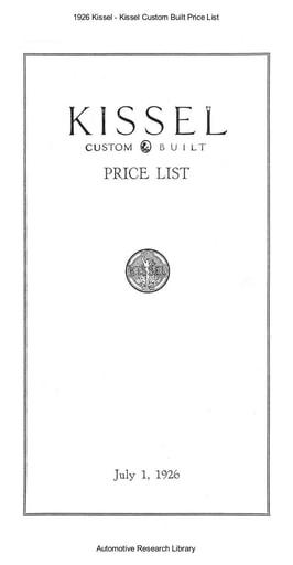 1926 Kissel   Custom Built Price List (2pgs)