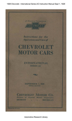 1929 Chevrolet   Series AC Inst  Manual Sept 1 (71pgs)