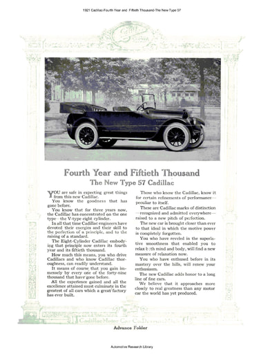 1921 Cadillac   4th Year and 50thThousand  The New Type 57 (8pgs)
