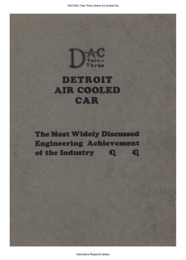 1922 DAC Twin Three Detroit Air Cooled Car (17pgs)