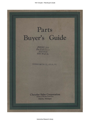 1931 Chrysler   Parts Buyer's Guide (172pgs)