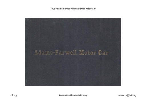 1905 Adams Farwell Motor Car (31pgs)