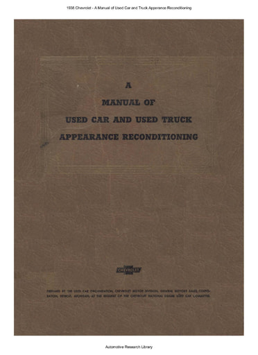 1938 Chevrolet   A Manual of Used Car and Truck Apperance Recond  (152pgs)