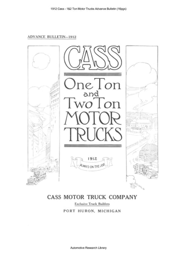 1912 Cass   1&2 Ton Motor Trucks Advance Bulletin (16pgs)