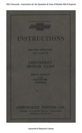 1923 Chevrolet   Inst  Models 490 & Superior Models (79pgs)