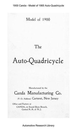 1900 Canda   Model of 1900 Auto Quadricycle (6pgs)