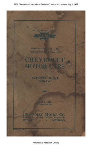 1929 Chevrolet   Series AC Inst  Manual July 1 (71pgs)