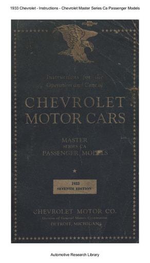 1933 Chevrolet   Inst  Master Series Ca Passenger Models (67pgs)
