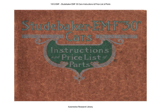 1912 EMF   Mod 30 Cars Inst  & Price List of Parts (65pgs)