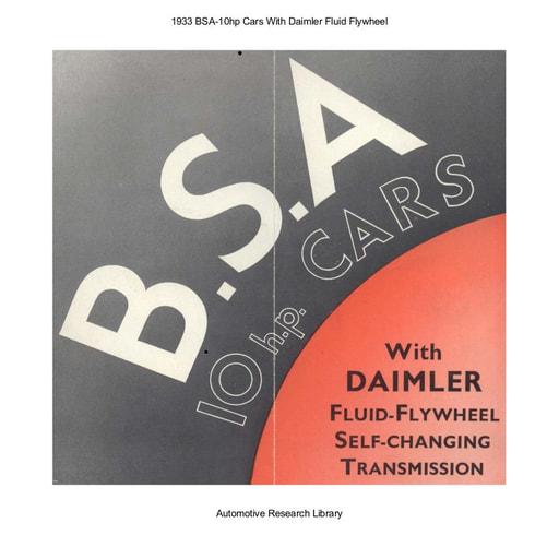 1933 BSA   10hp Cars With Daimler Fluid Flywheel (5pgs)