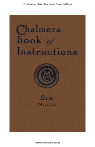1915 Chalmers   Book of Inst  Master 6 Mod  26 (71pgs)