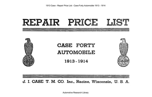 1913 Case   Repair Price List   Model Forty (68pgs)