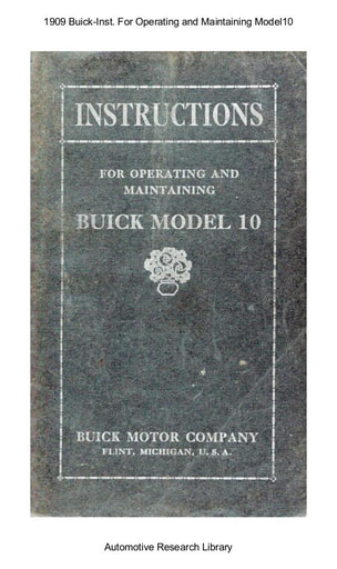 1909 Buick   Inst  For Operating and Maintaining Model10 (33pgs)