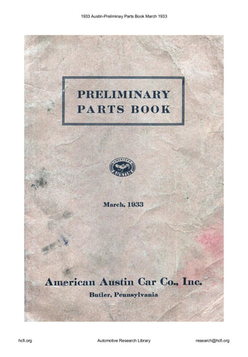 1933 Austin   Preliminay Parts Book   March (46pgs)