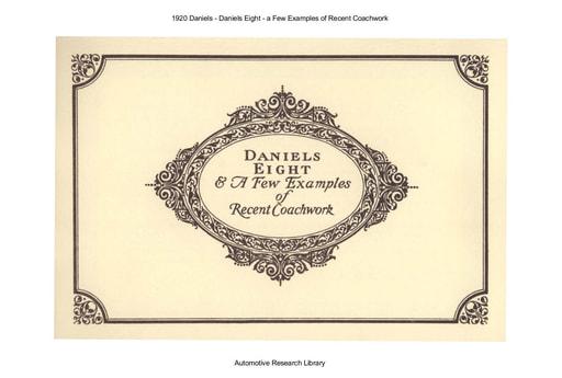 1920 Daniels Eight   a Few Examples of Recent Coachwork (17pgs)