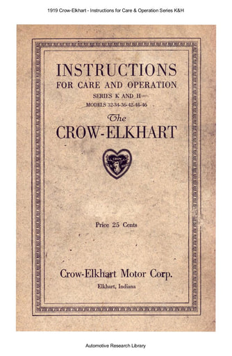 1919 Crow Elkhart   Inst  Series K&H (28pgs)