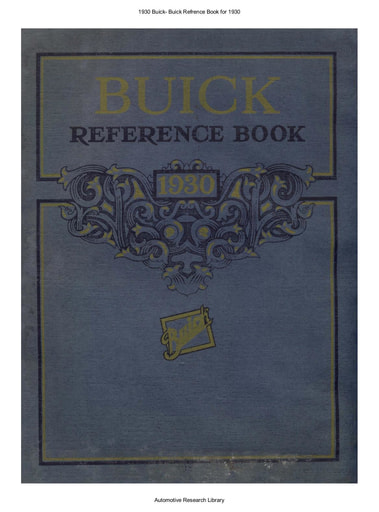 1930 Buick   Refrence Book (64pgs)