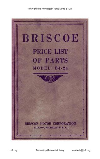 1917 Briscoe   Price List of Parts Model B4 24 (38pgs)