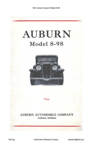 1931 Auburn   Model 8 98 (40pgs)