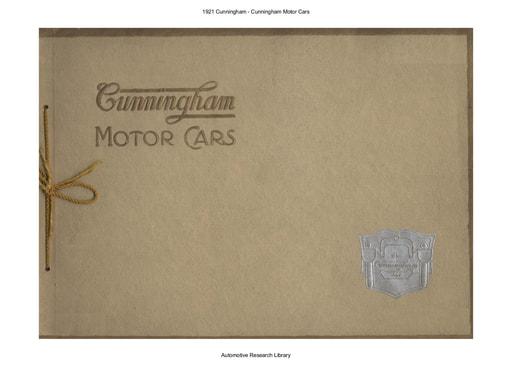 1921 Cunningham Motor Cars (21pgs)