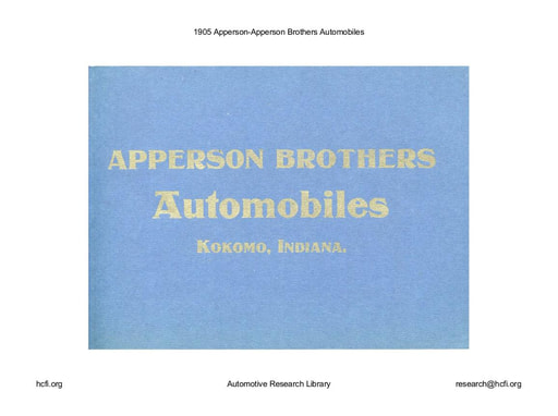 1905 Apperson   Apperson Brothers (33pgs)