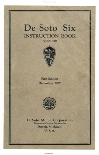 1932 De Soto   Six Inst  Book (103pgs)