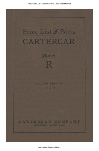 1912 Carter Car   Price List of Parts Model R (63pgs)