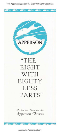 1921 Apperson   The Eight With Eighty Less Parts (8pgs)