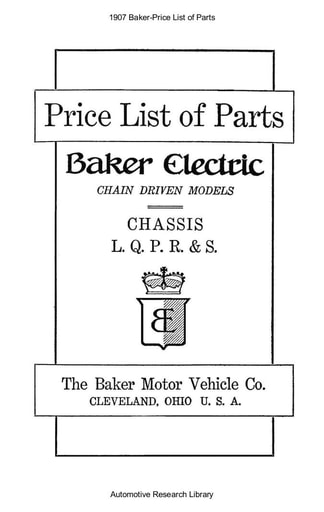 1907 Baker   Price List of Parts (36pgs)