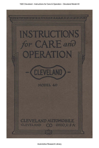 1920 Cleveland   Inst  Model 40 (40pgs)