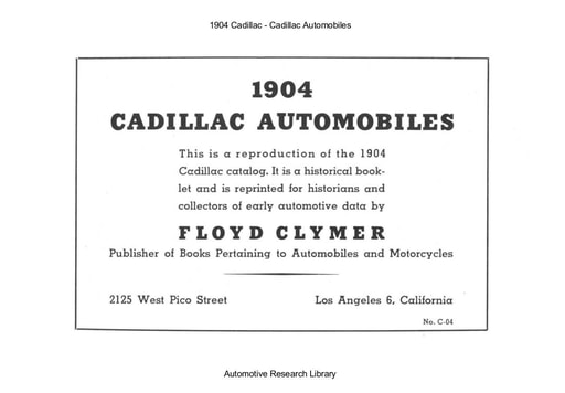 1904 Cadillac Automobiles (15pgs)