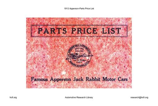 1912 Apperson   Parts Price List (43pgs)